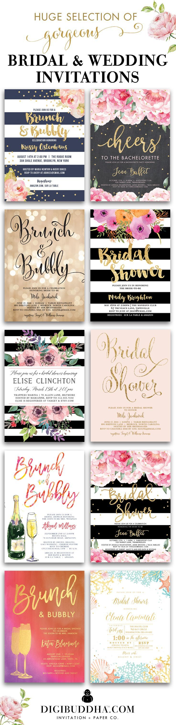 Huge selection of original trend-setting bridal shower invitations and wedding invitations in styles ranging from modern to classic to elegant, glam, rustic and even boho chic. In any color and just about any fonts you can imagine. Plus add matching envelope liners, address labels and coordinating color envelopes to complete the look. Wow your guests with beautiful invitations. Celebrate Life, Love & Babies with Digibuddha Invitation + Paper Co.