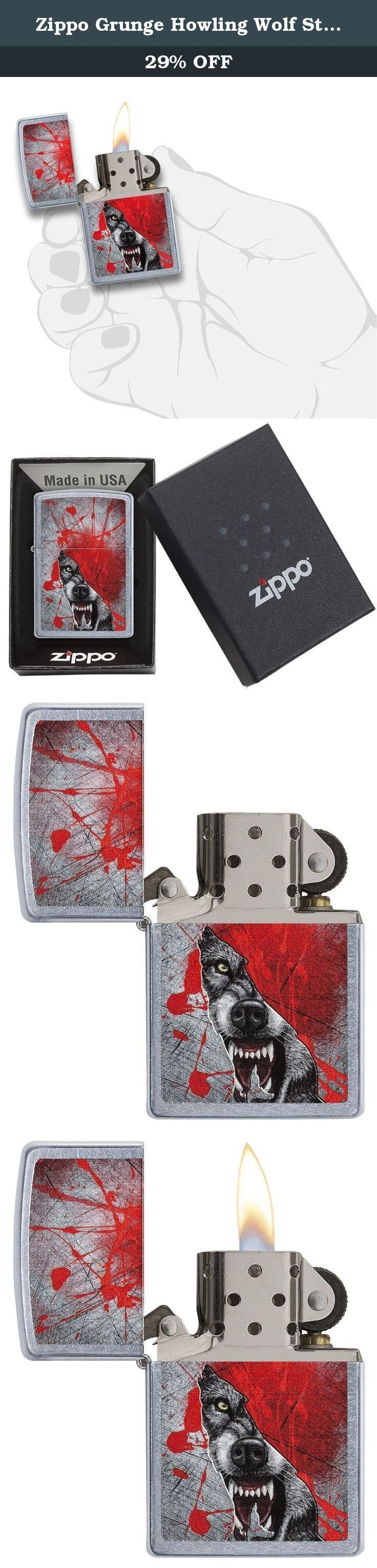 Zippo Grunge Howling Wolf Street Chrome Pocket Lighter. This street chrome™ windproof lighter features an image of a fierce Wolf surrounded by a red and grey Grunge background color imaged on this lighter. Comes packaged in an environmentally friendly gift box. For optimal performance, fill with Zippo premium lighter fluid.