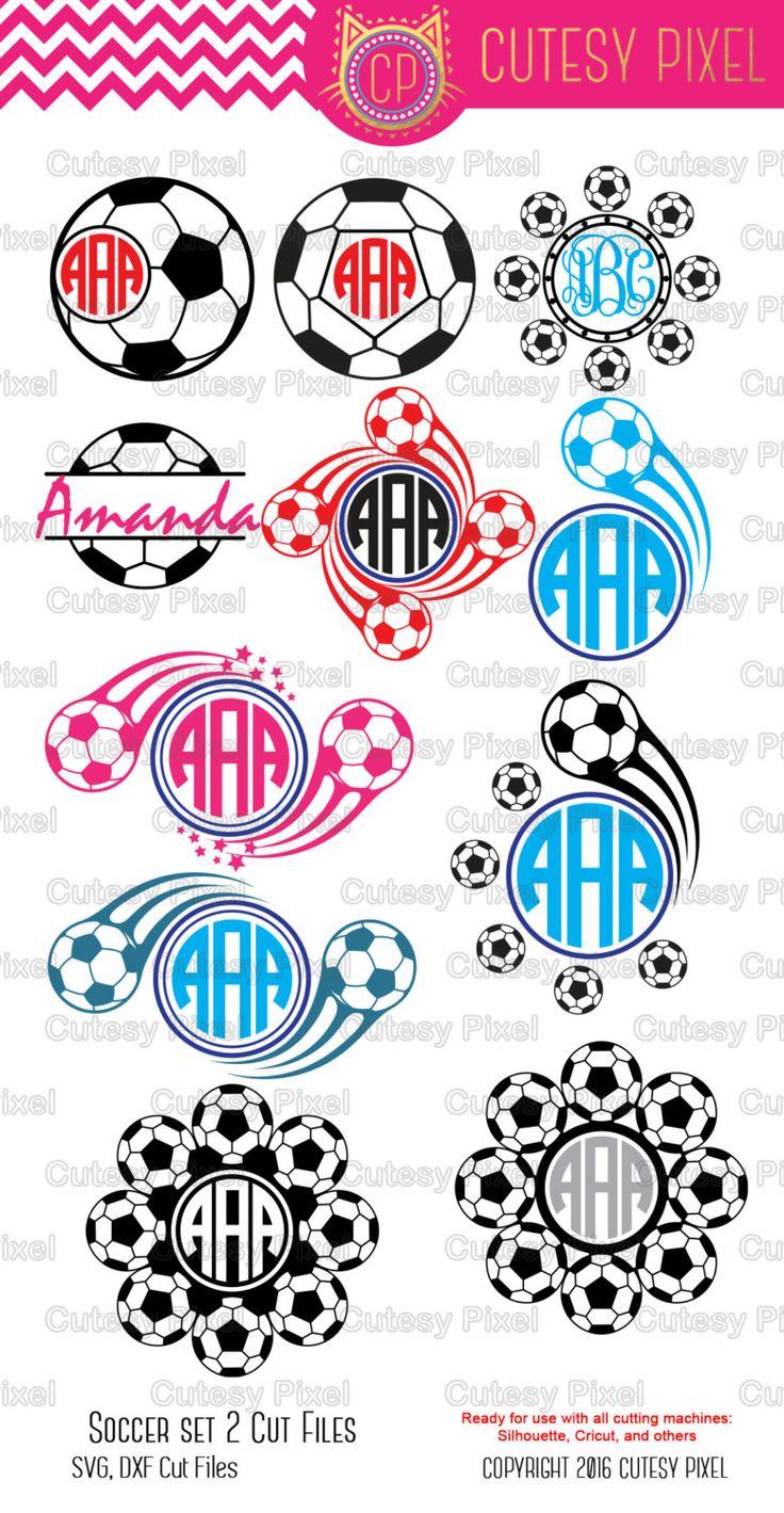 Soccer Monogram Frames ,Svg cutting file,sports svg, soccer SVG, DXF, Cricut Design Space, Silhouette Studio,Digital Cut Files by CutesyPixel on Etsy