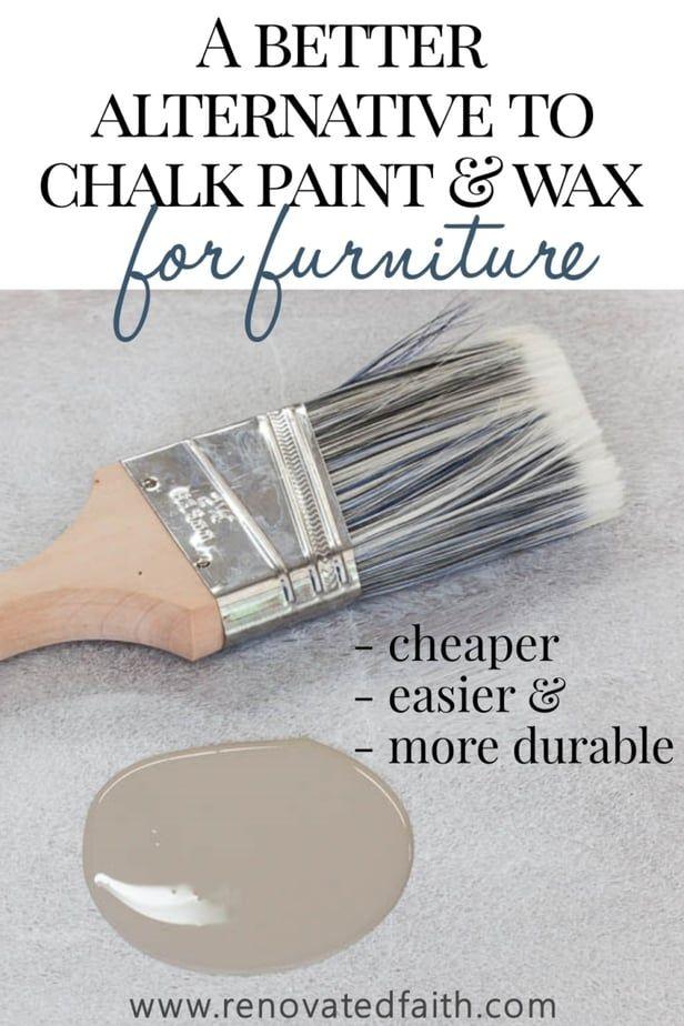 The Best Alternative to Chalk Paint – SO much cheaper & easier!  This furniture paint is easy to use and the tutorial shows techniques and unlimited color options.  The tutorial also shows how to chalk paint with dark wax alternative and how to use Valspar clear mixing glaze.  These alternatives to wax for chalk paint, are budget-friendly and so easy.  I used this same recipe for my kitchen cabinets! #anniesloan #easydiy