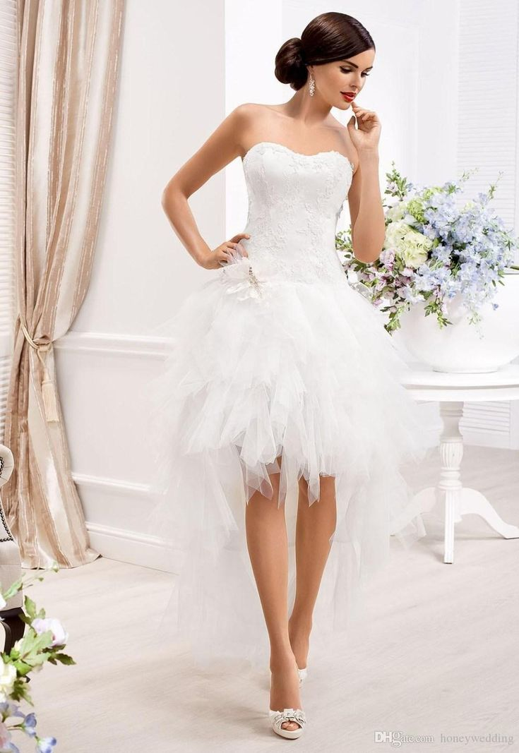 2015 two in one wedding dresses with detachable skirt sweetheart appliques tiers ruffles high low beach elegant wedding dress gowns cheap