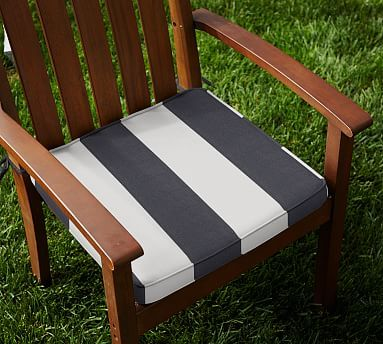Outdoor Piped Dining Chair Cushion - Striped Sunbrella&#0174 #potterybarn