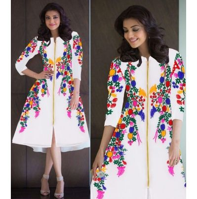 Buy new white embroidered georgette kurtis by Unique Fashion, on Paytm, Price: Rs.699?utm_medium=pintrest