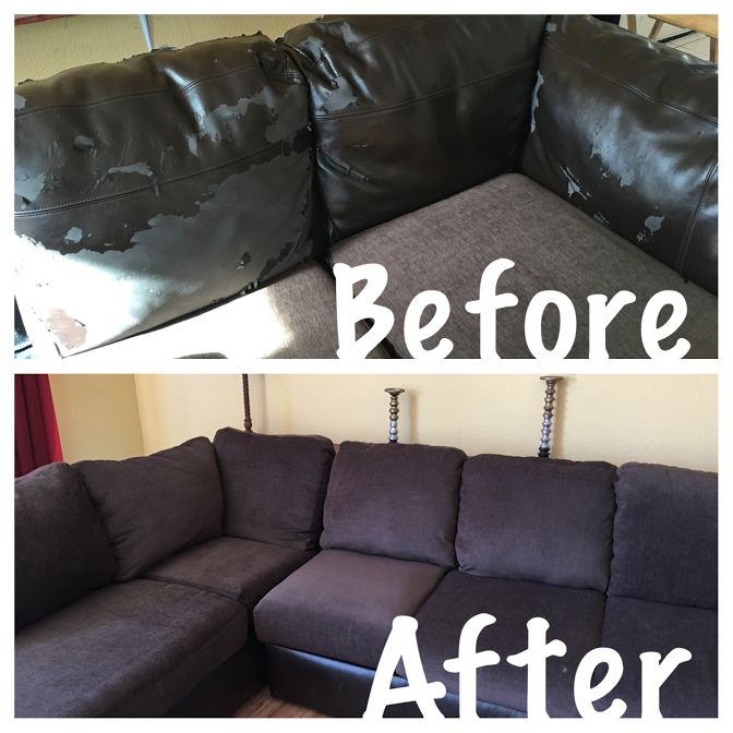 How to reupholster attached couch cushions:              It's been a very long time since I've posted any projects, but here we go.   We hav...