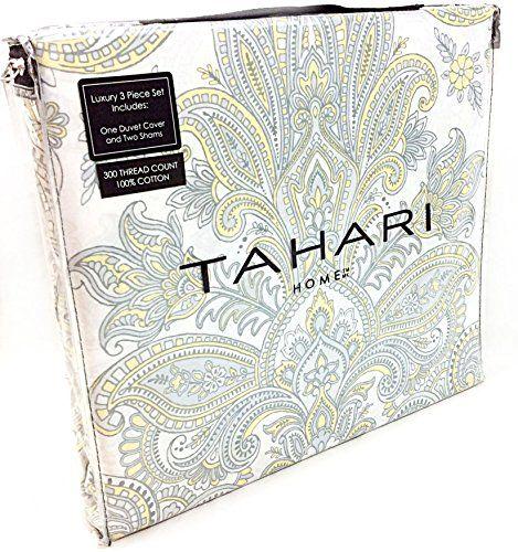 Tahari Home 3pc Duvet Cover Set Paisley Medallion Silver: Tahari Home 3pc King Duvet Cover Set Paisley Scroll