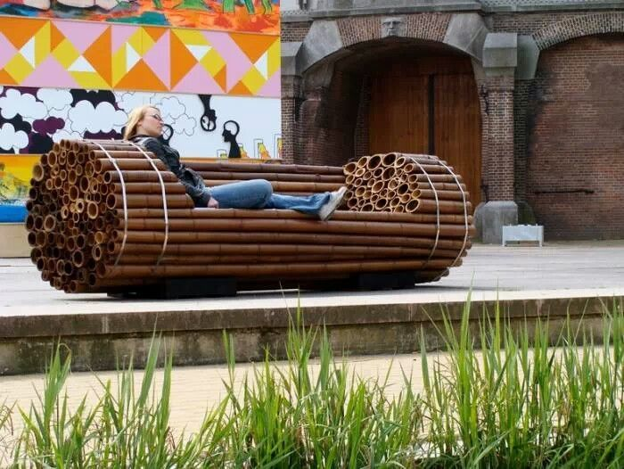 Bamboo bench - simple and ingenious