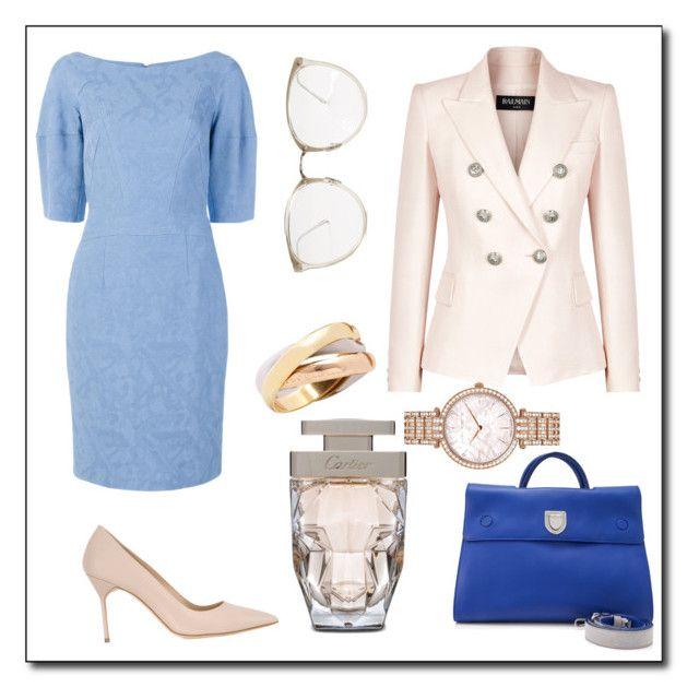 """Business Dress Code"" by lily-basiuk on Polyvore featuring Christian Dior, Talbot Runhof, Manolo Blahnik, Balmain, Cartier, Linda Farrow and Harry Winston"