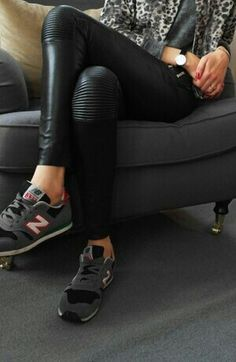 wow, definitely a way to style those leatherette leggings - add some New Balance Trainers