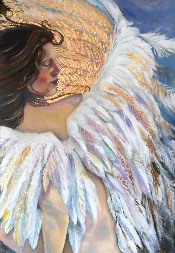 Angel  24 x 36 Large Acrylic & Gold Foil Painting by e.bradshaw on etsy