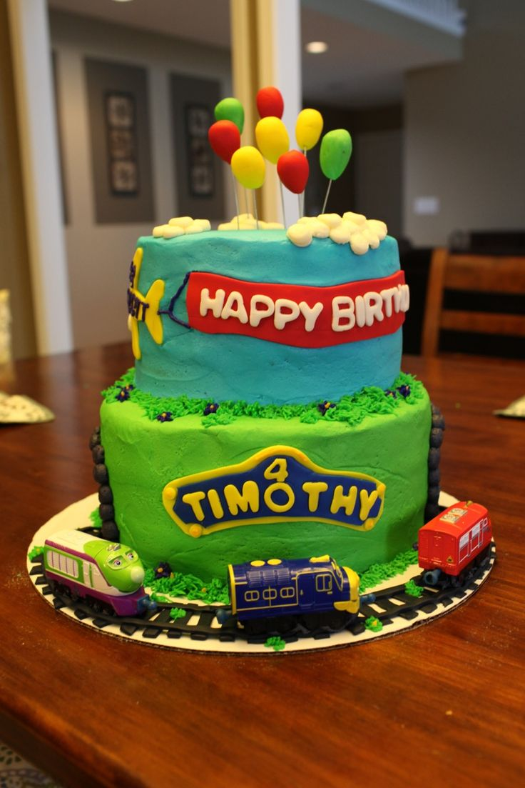 Chuggington Cake, Thomas, Train, Cake, Balloon, airplane, skywriting, track, kids party, clouds, Cake Effect, Train Cake