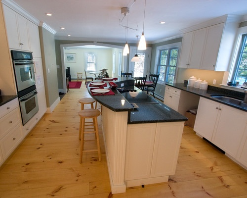 Colonial Farmhouse Remodel I Kind Of Like The Knotty Pine Flooring Look