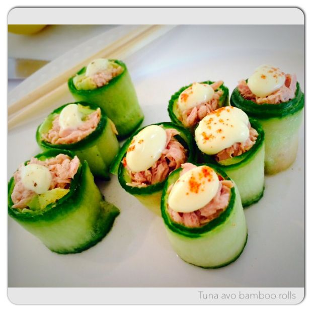 Tinned tuna cucumber sushi