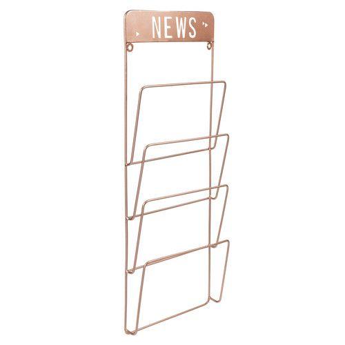 Koperkleurige metalen COPPER NEWS tijdschriftenrek voor tegen wand H 65 cm