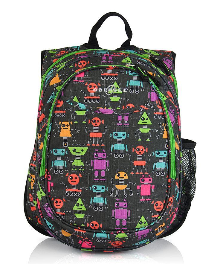 Black Robots Lunch Cooler Preschool Backpack