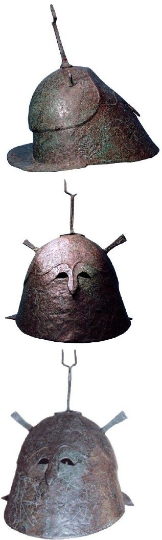 The Apulo-Corinthian Helmet, Type C.   From above: 1, 2 & 3. Provenance unknown.   Bachelor Thesis By: Sander Kools