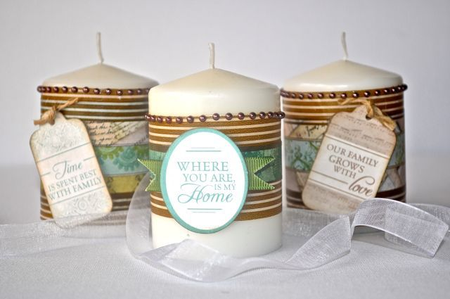 Gift Candles made using the Heirloom Collection and Printed tape from Kaisercraft By Kelly-ann Oosterbeek.