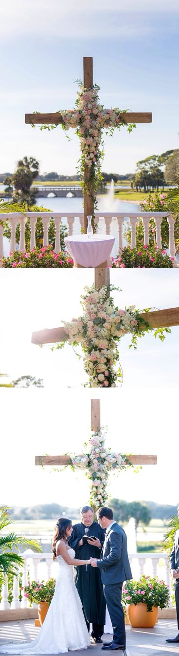 My husband built a beautiful cross for the back drop of our wedding ceremony. I could not believe how perfect it turned out!