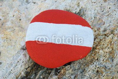 Flag of Austria on a stone