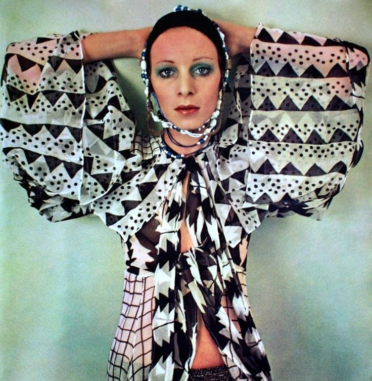 Printed chiffon blouse by Ossie Clark and Celia Birtwell, ELLE (rare Swiss edition) April 1970