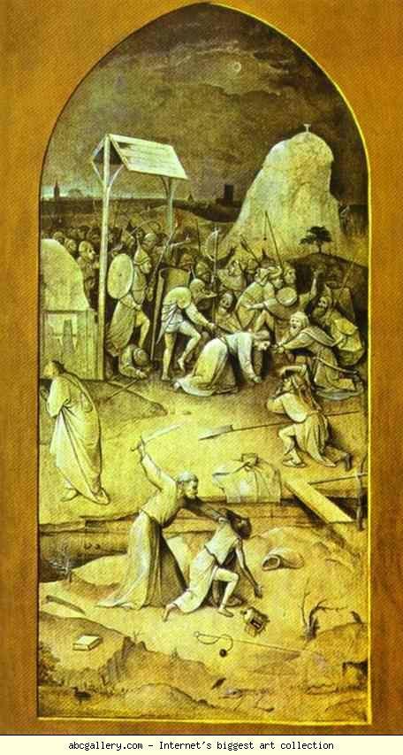 Йеронимус Бош.  Заповед на Христос в Гетсиманската градина.  Галерия Олга - заповед на Христос в Гетсиманската градина.  1500. Извън дясното крило.  Grisaille на панела.  Музей Насионал де Арте Антига, Лисабон, Португалия: