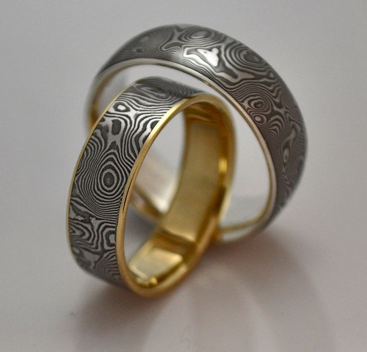 damascus ring diamond   Gold and silver lined Damascus rings with fine pattern