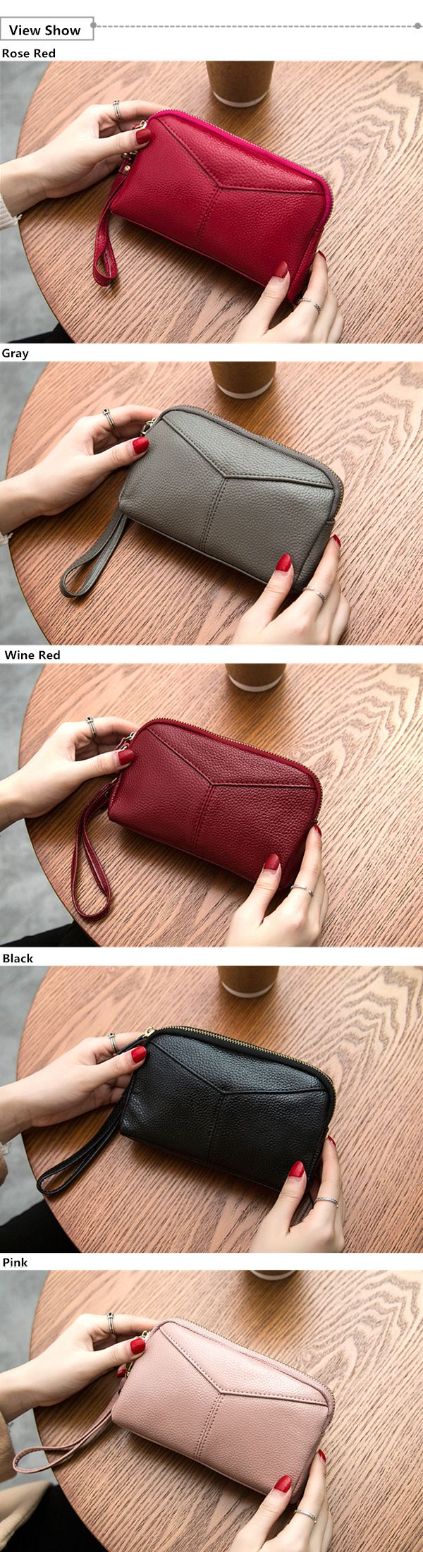 Women Genuine Cowhide 6.3 Inches Phone Clutch Wallet Keys Card Coin Holder 5 Colors
