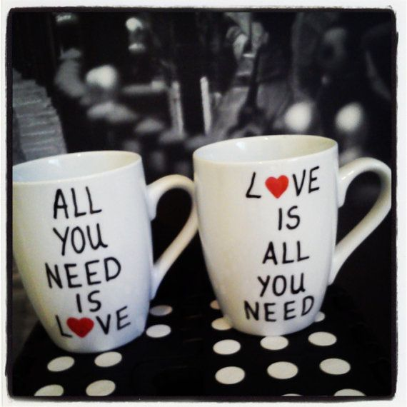 Hey, I found this really awesome Etsy listing at https://www.etsy.com/listing/175058285/love-is-all-you-need-coffee-mugs-set-of cups and mugs