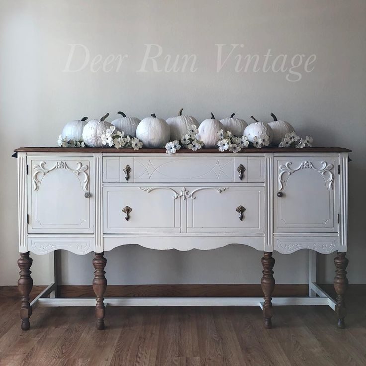 Yes I M Using My Painted Pumpkins And White Flowers In My Picture Again Wh Steel Magnolia Antique Buffet Buffet Furniture Buffet Decor