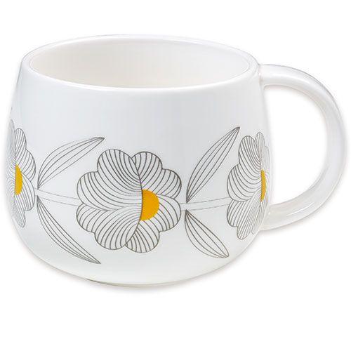 Gezellig tafelen-retro beker in porselein-fleurs grises-Mr and Mrs Clynk-9666-Mooie porseleinen mok met geometrische bloemen van het Franse ontwerpersduo Mr