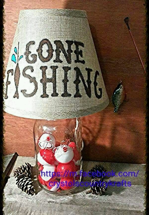 """1 2 Gallon Mason Jar Table Lamp Hand Crafted """"Gone Fishing"""" Electric 