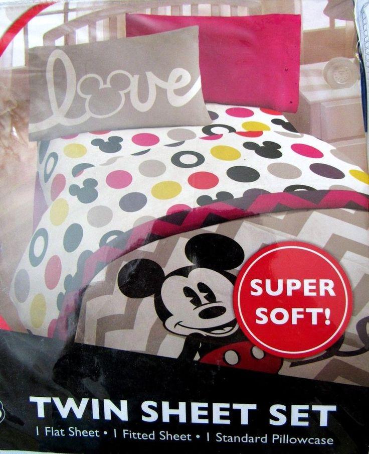 Mickey Mouse Disney Twin Sheet Set Super Soft Polyester Machine Washable New #Disney