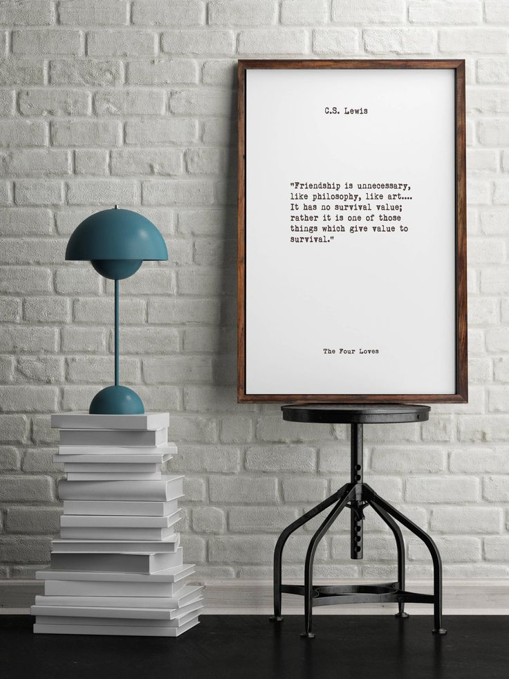 C.S. Lewis, Friendship Quotes, Book Quotes, Inspiring Quotes, Minimalist Art, Vintage Art, Home Decor, Library Art, Nursery Quotes by WeepingProse on Etsy