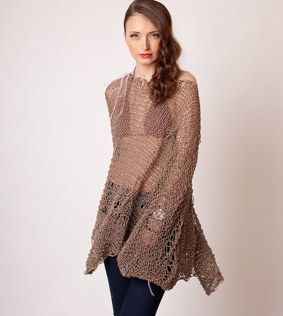 Boho brown knit dress, bohemian chic oversized poncho, beach cover up, summer loose knit, batwing sleeve, linen cotton sweater, hippie style