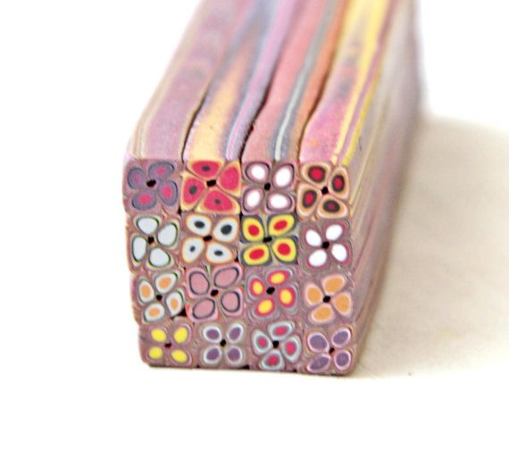 Square Polymer Clay Extruder Cane red and pink by LyamayevaClay