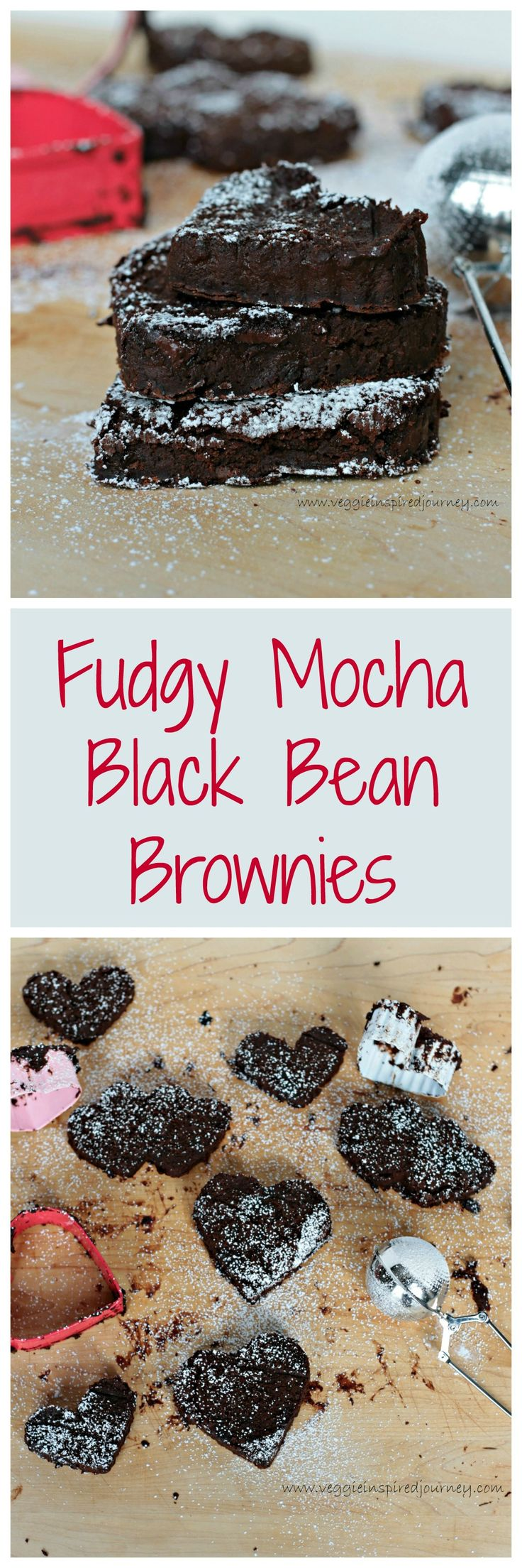 Fudgy Mocha Black Bean Brownie Hearts! So rich and chocolatey! You won't taste the black beans at all! #vegan #dairyfree #glutenfree #oilfree #healthy #dessert #brownies