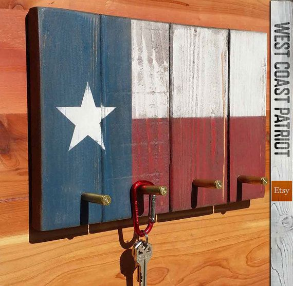 Texas Flag Key Rack with bullet hooks by WestCoastPatriot on Etsy