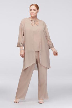Lace-Detailed Georgette Plus Size Pantsuit 27335 3