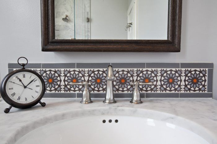 Sophisticated Handpainted Bathroom Accent | Installation Gallery | Fireclay Tile