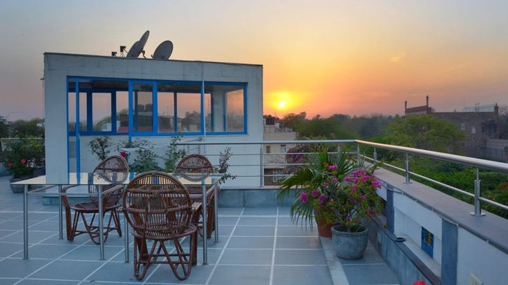 Roof terrace view from this excellent B&B in upmarket Nizamuddin East, New Delhi.