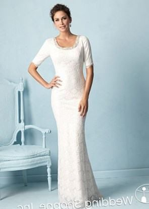 Beach Wedding Dresses Casual For Older Brides With Mid Sleeves And