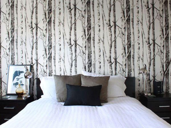Non è bellissima questa camera da letto immersa nel bosco? Oggi vi spieghiamo come ravvivare la zona notte ed esprimere tutta la propria personalità con le carte da parati! http://www.arredamento.it/ristrutturazione/rivestimenti/carta-da-parati/carta-da-parati-camera-da-letto.html #consiglicameradaletto #zonanotte #cartadaparati