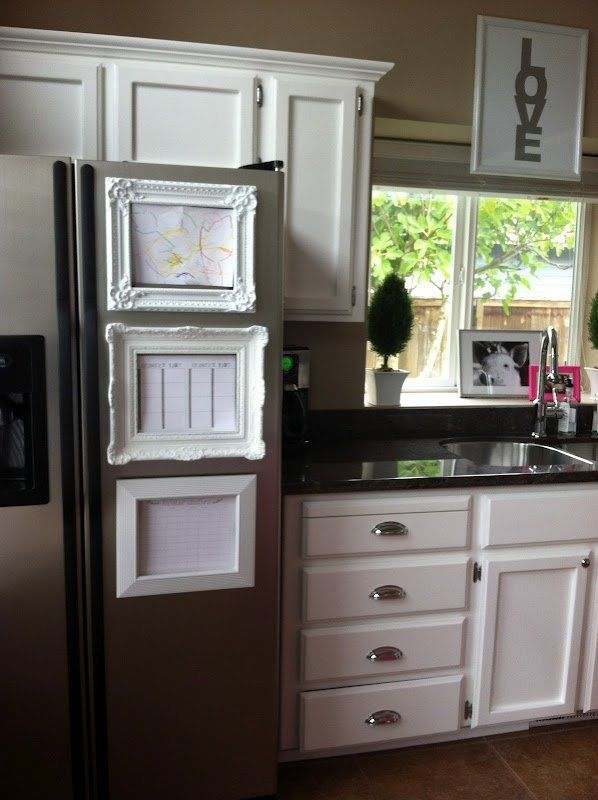 Like this idea! spray paint plastic frames and glue magnets to the backs to display kid art