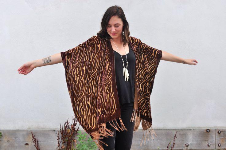Velvet Kimono: Brown Animal Print Velvet Burnout Beach Cover Up Shawl Open Wrap by HalinaShearmanDesign on Etsy
