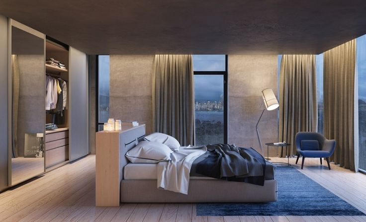 offenes Wohnzimmer in grau mit Bett in der Mitte