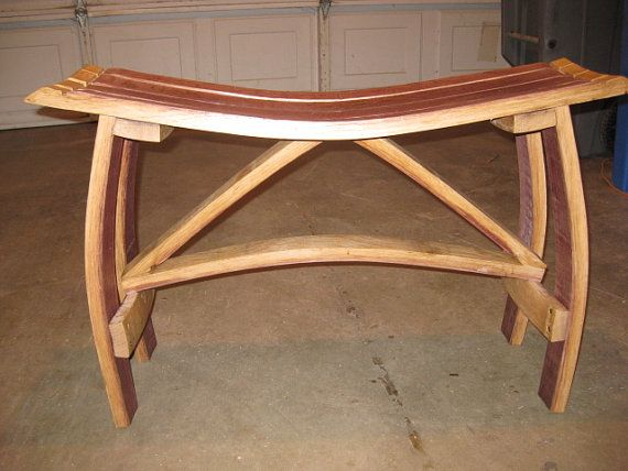 Wine Barrel Bench by TheCraftyHubby on Etsy, $125.00
