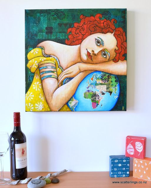 'Protect' - mixed media portrait of a woman by Renee Walden