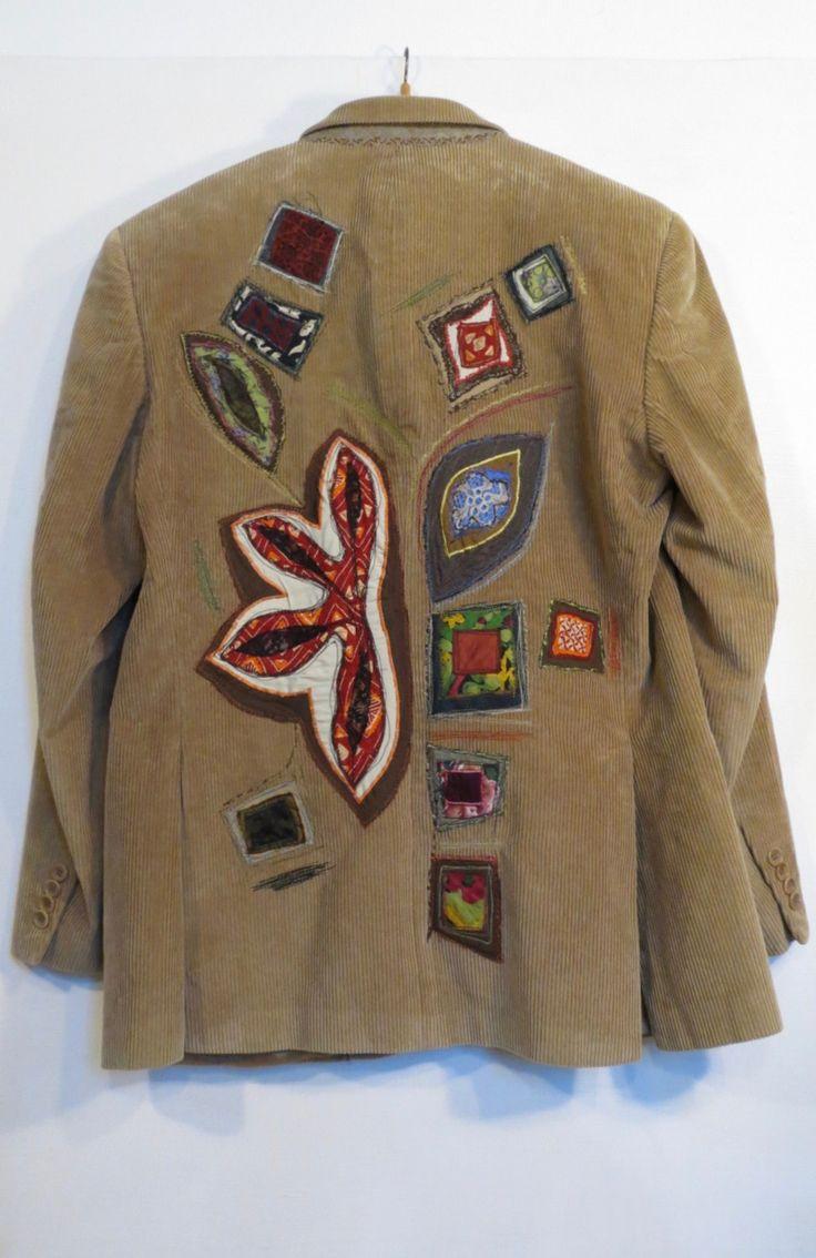 giacca uomo,giacca velluto cachi,giacca beige,velluto a coste,giacca boho,giacca uomo decorata,upcycled clothing,stoffa riciclata di decorandom su Etsy