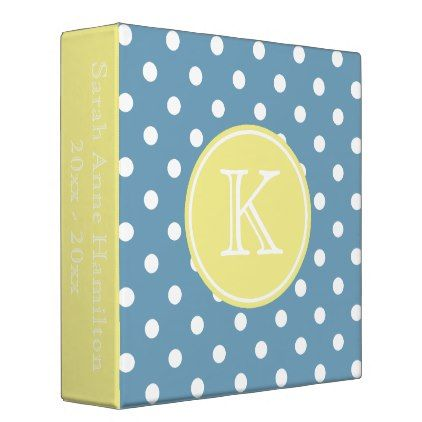 Carolina Blue and Butter Yellow Monogram Binder - monogram gifts unique design style monogrammed diy cyo customize
