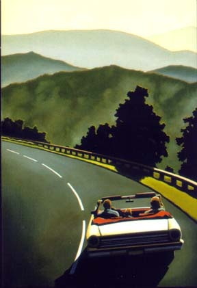 possibilities lie in dangerous mountain curves - looks a bit 90s to me? (R. Kenton Nelson)
