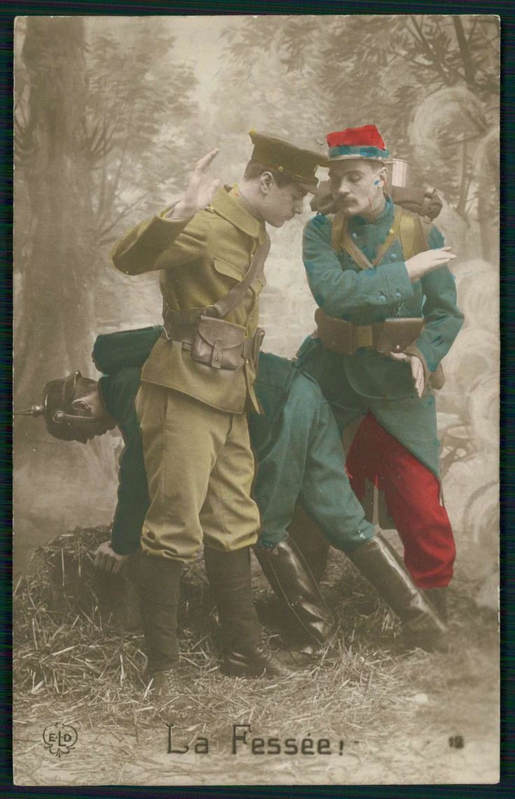 World War I French postcard depicting a French and British soldier spanking a German soldier.
